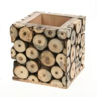 Pencil pot, decorative wood twig slices