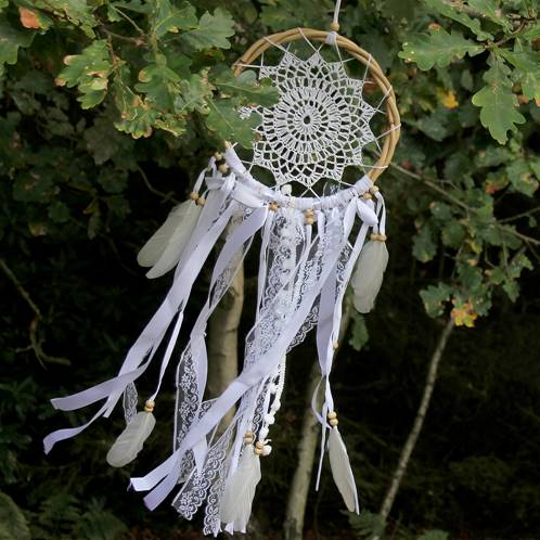 Dreamcatcher bamboo crochet with lace 22cm