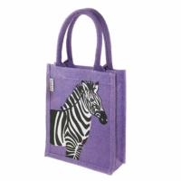 Jute shopping bag, small, zebra