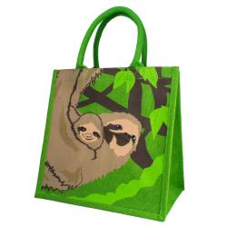Jute shopping bag, sloth with baby