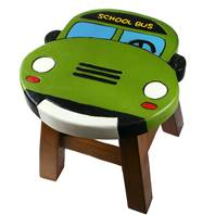 Child's wooden stool, school bus