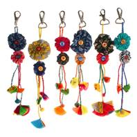 Keychain, Rakhi, flowers, recycled fabric assorted colours, 23cm