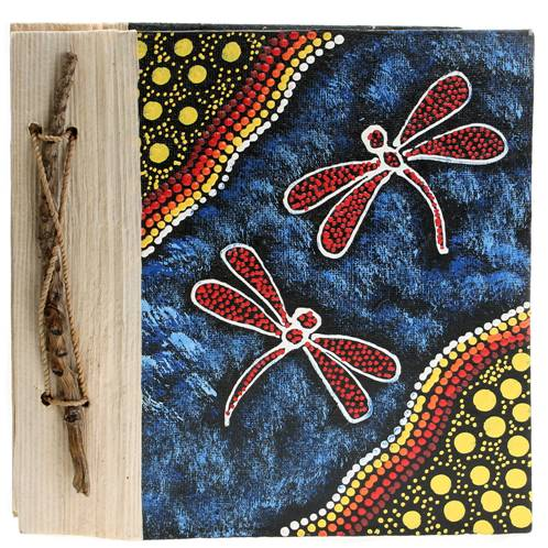 Notebook Aboriginal design dragonflies, 20x20cm