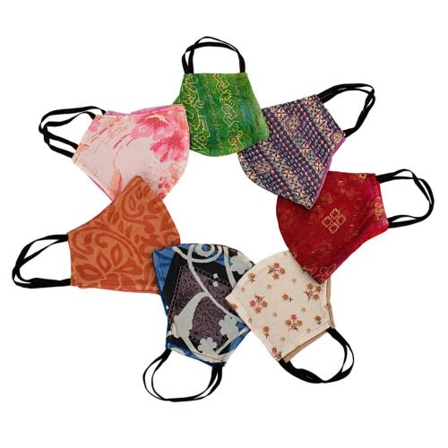 Face covering recycled saris, assorted colours, large 23x17cm