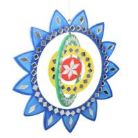 Mobile rainbow, blue sunflower, mirrored tiles, 21cm