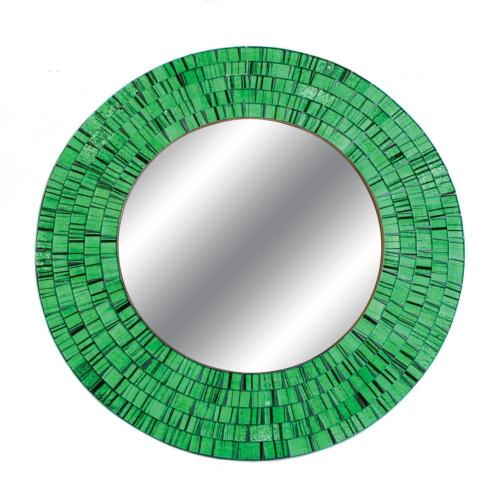 Mirror round with mosaic surround 40cm green