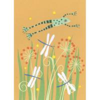 Illustrated greetings card dragonflies and frog 17x12.5cm