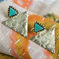 Earrings gold and turquoise coloured triangles