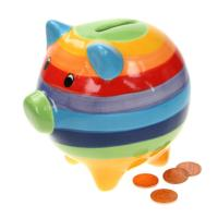 Rainbow money box pig