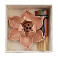 Incense with lotus shaped holder, assorted, 1 supplied