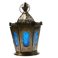 Lantern sloped sides blue height 22cm