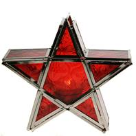 Lantern, star shape red, 17cm