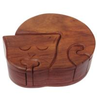 Cat shaped puzzle box, sheesham wood