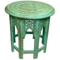 Coffee table mango wood round, green