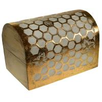 Trunk box, mango wood honeycomb design