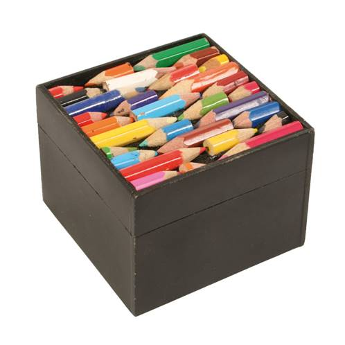 Box, recycled crayons 8x8x6cm