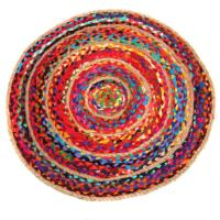 Rag rug, round cotton and jute, 70cm diameter
