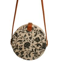 Shoulder bag, rattan, round, faux leather strap, floral