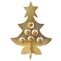 Christmas tree, wood with baubles, gold colour 32cm