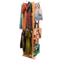 72 shopping bags + 32 scarves with wooden display stand