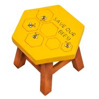 Child's wooden stool, save our bees