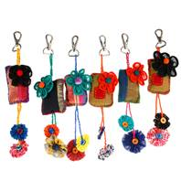 Keychain, cushion, recycled fabric assorted colours, 22cm
