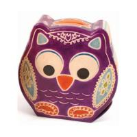 Leather money box owl purple