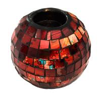 T-lite holder, mosaic, 10cm height red