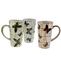 Mug, butterflies, assorted colours height 15cm