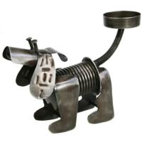 Dog t-lite holder, recycled waste metal