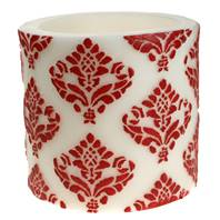 Candle pineapple damask red + white, 15cm lantern