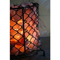 Metal grid bowl with Himalayan salt chips 17.5cm ht