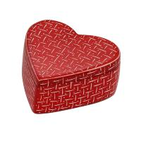 Kisii stone heart shaped trinket box, red with dashes