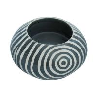 Kisii stone round t-lite holder, grey