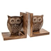 Bookends, mango wood, owl