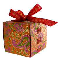 Gift box, square with ribbon, orange