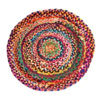 Rag rug, round recycled polyester, 70cm diameter