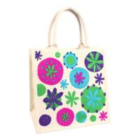 Jute shopping bag, floral brights