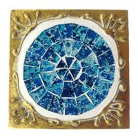 Set of 4 gold coloured square coasters, blue mosaic