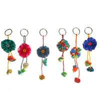 Keychain, Rakhi, flowers, recycled fabric assorted colours, 15cm