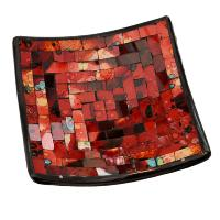 Candle plate, mosaic, 20cm red