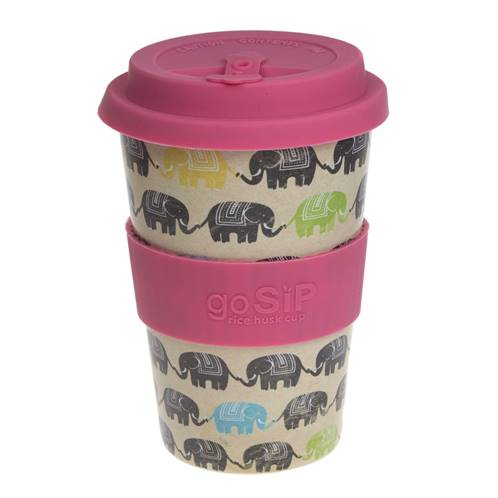 Rice husk cup 14oz, elephants - dare to be different