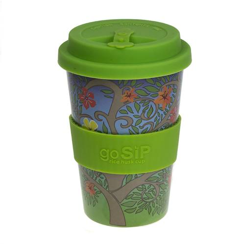 Rice husk cup 14oz, tree of life - flowers