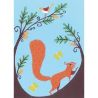 Illustrated greetings card squirrel 17x12.5cm