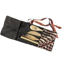 Bamboo cutlery set in black/brown cotton pouch