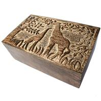 Giraffe box, mango wood, 21.5x13x8cm