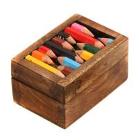 Box - wood and recycled crayons 7.5x5x4cm