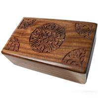 Wooden secret lock box, circle design, 12.5x20x6cm