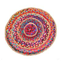 Rag rug, round cotton and jute, 50cm diameter