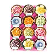 Pack of 12 flower t-lites, multicoloured